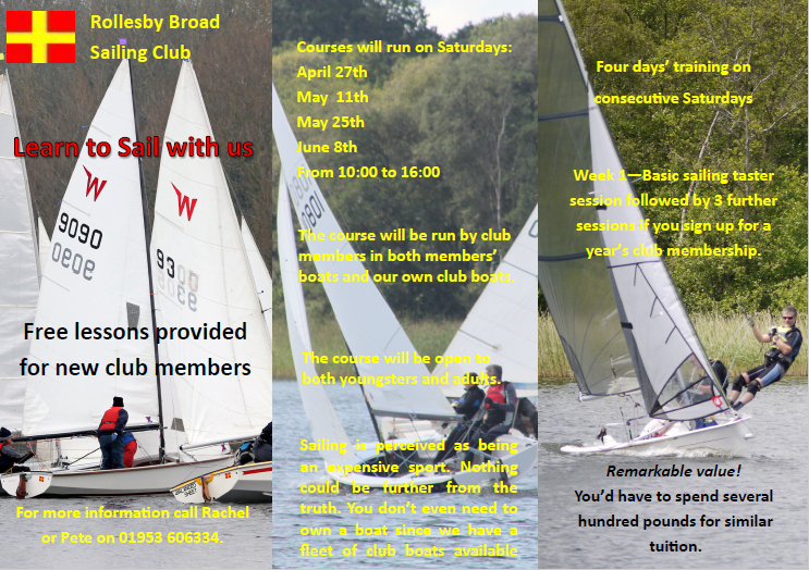 Learn to Sail Starts- April 27th.